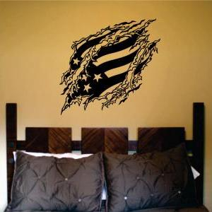 Flag Ripping Thru Wall Mural Decal ..
