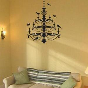 Chandelier with birds Decal Sticker..