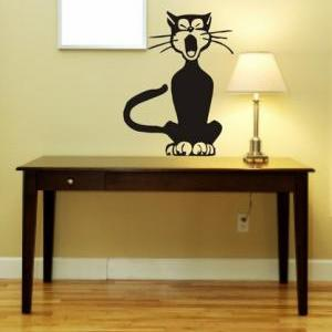 Cute Yawning Cat Decal Sticker Kitt..