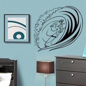 Surfer Riding Wave Decal Sticker Wa..