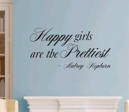 Wall Decal Quotes - Happy Girls Are The Prettiest Quote Wall Decal Sticker Aubrey Hepburn Teen Love Girl Room Decor Words Tattoo