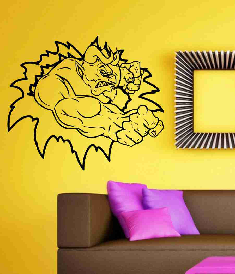 Devil Tearing Ripping Thru Wall Vinyl Decal Sticker Art Graphic Sticker Devils Satan