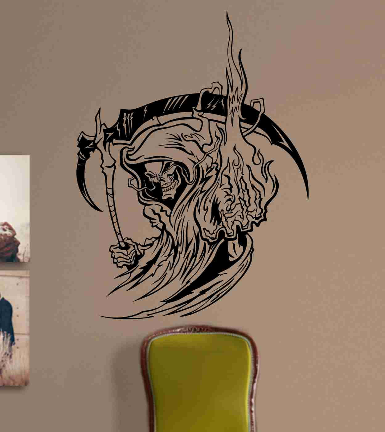 Skull Version 127 Bones Grim Reaper Wall Vinyl Decal Sticker Art Graphic Sticker Skulls