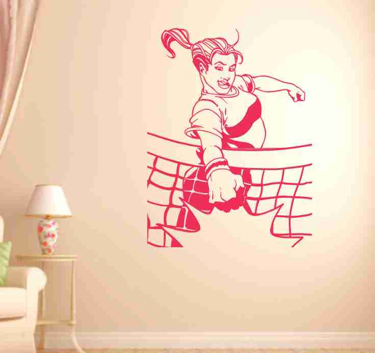 Volleyball Girl Spiking Ball Vinyl Wall Decal Sticker Art Sports - Vinyl volleyball wall decals