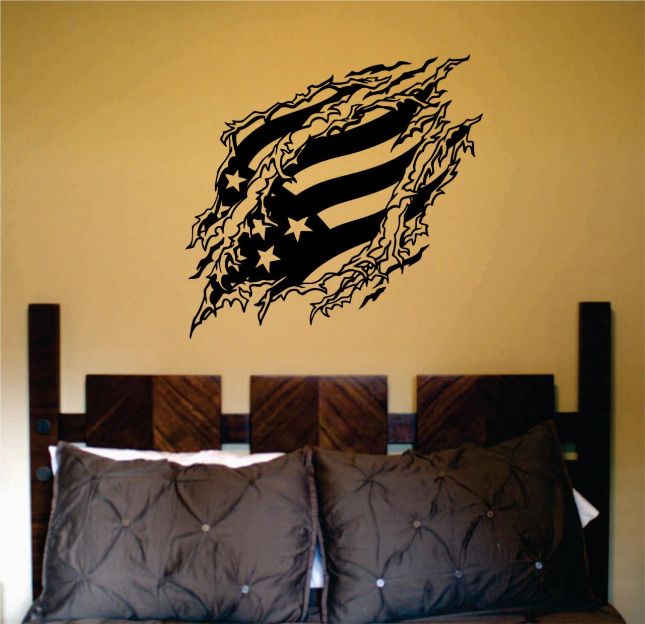 Flag Ripping Thru Wall Mural Decal Sticker Vinyl