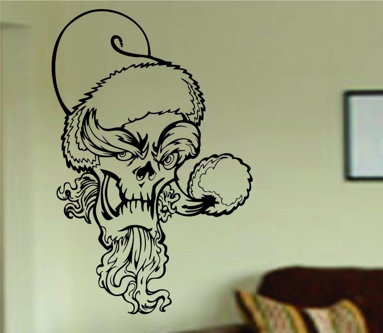 Grinch Skull Wall Vinyl Decal Sticker Art Graphic Sticker