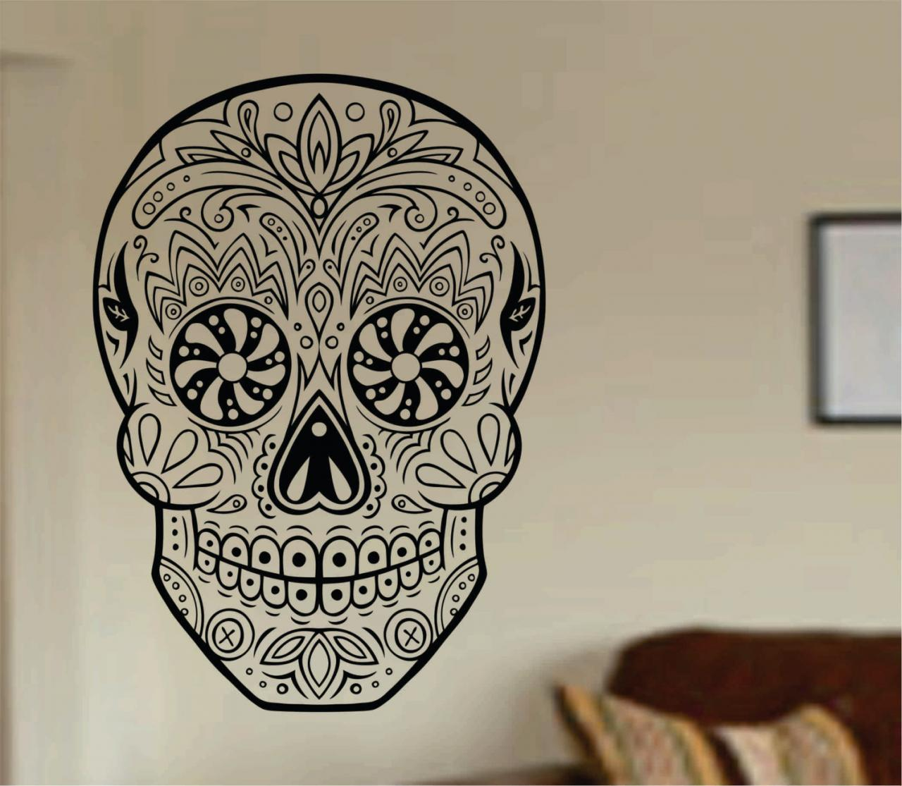 Sugar Skull Version 20 Wall Vinyl Decal Sticker Art Graphic Sticker Sugar Skull Sugarskull