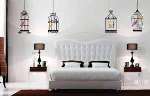 Birdcage Series with Birds - Wall Vinyl Decal art graphic Four Cages