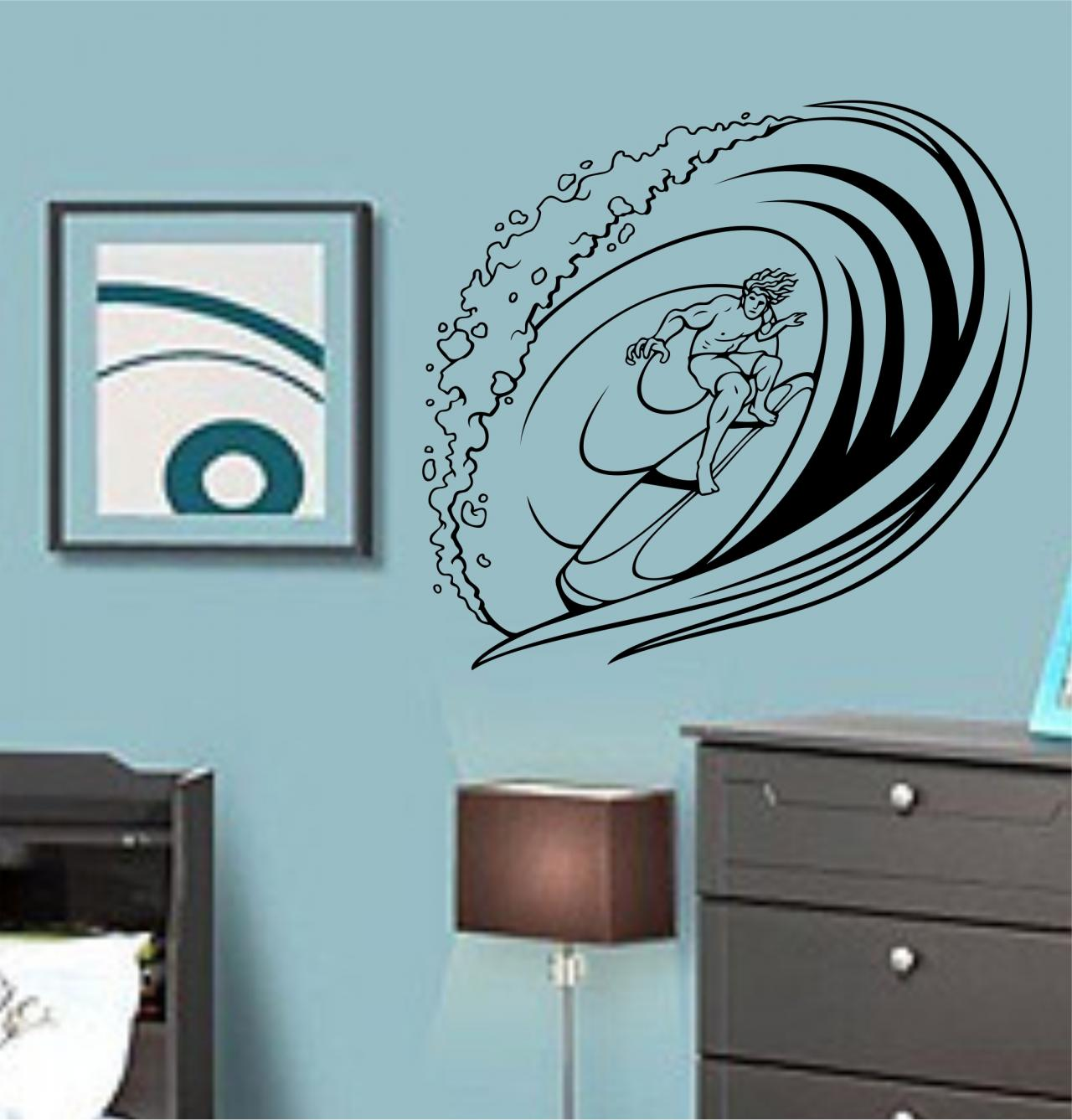 Surfer Riding Wave Decal Sticker Wall Ocean Surf Boy Girl Nursery Sport