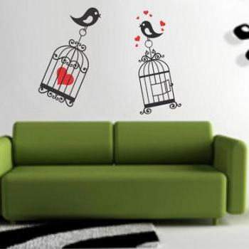 Lovebirds and Cages Decal Sticker Wall Mural Nursery Modern Kids cage Love Bird Birds Heart Hearts